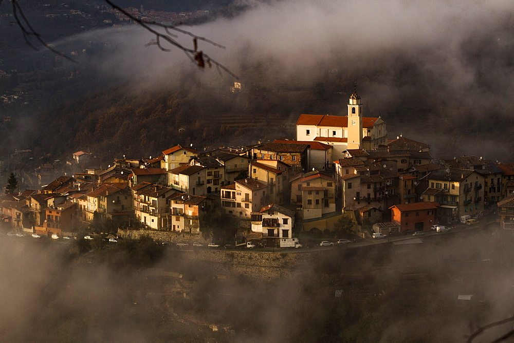 Village of La Bollene Vesubie in the evening mist in the Maritime alps. - 1061-38