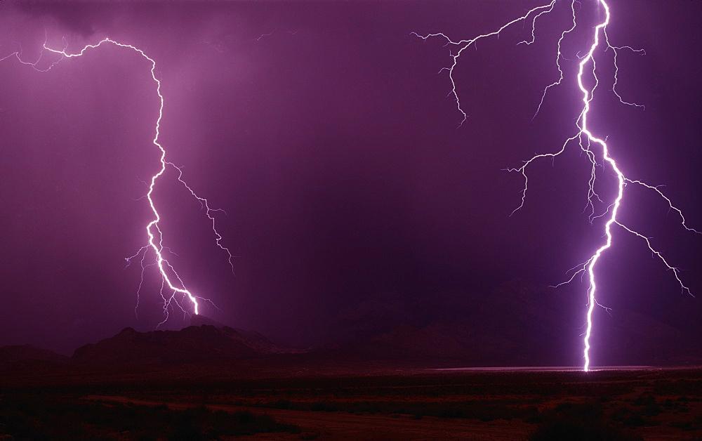 Lighting Up The Desert, Lightning; Southern Nevada - 1065-42