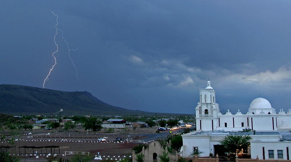 San Xavier Mission With Lightning, Lightning; San Xavier Mission; Tucson; Arizona - 1065-55