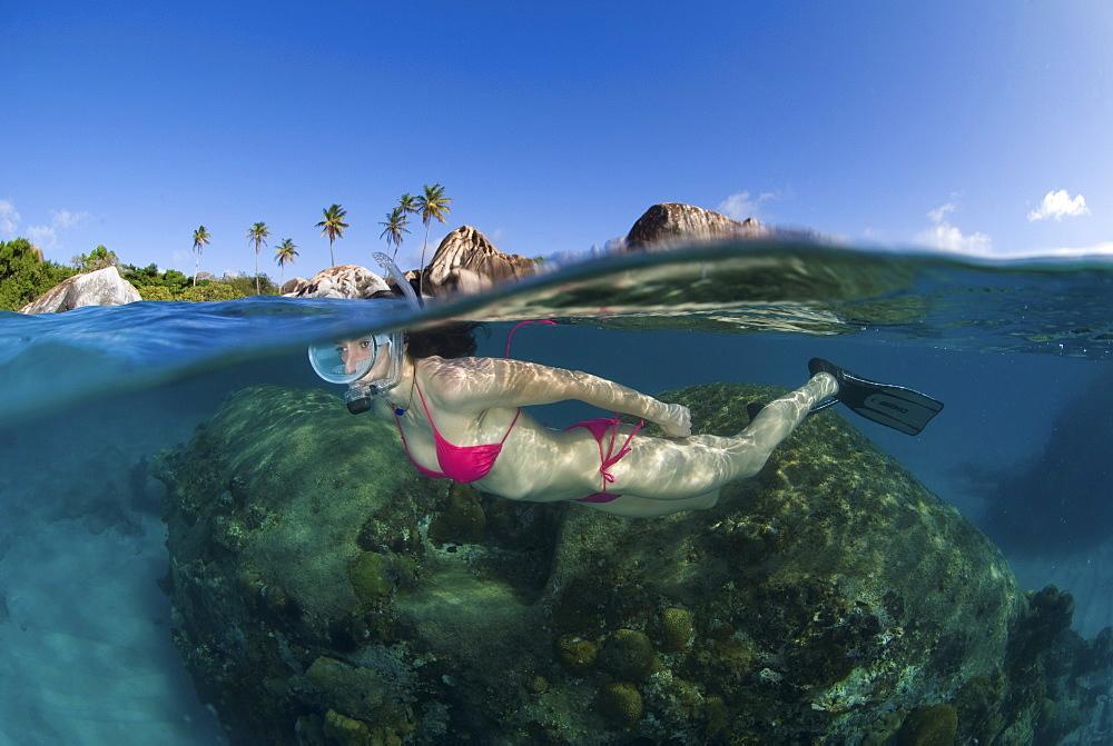 snorkeler, The Baths, British Virgin Islands