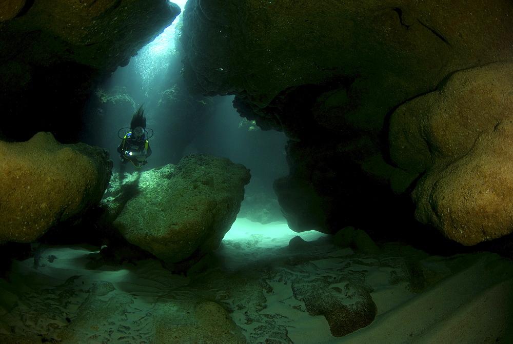 Diver in cave, Anegada, British Virgin Islands - 1072-99