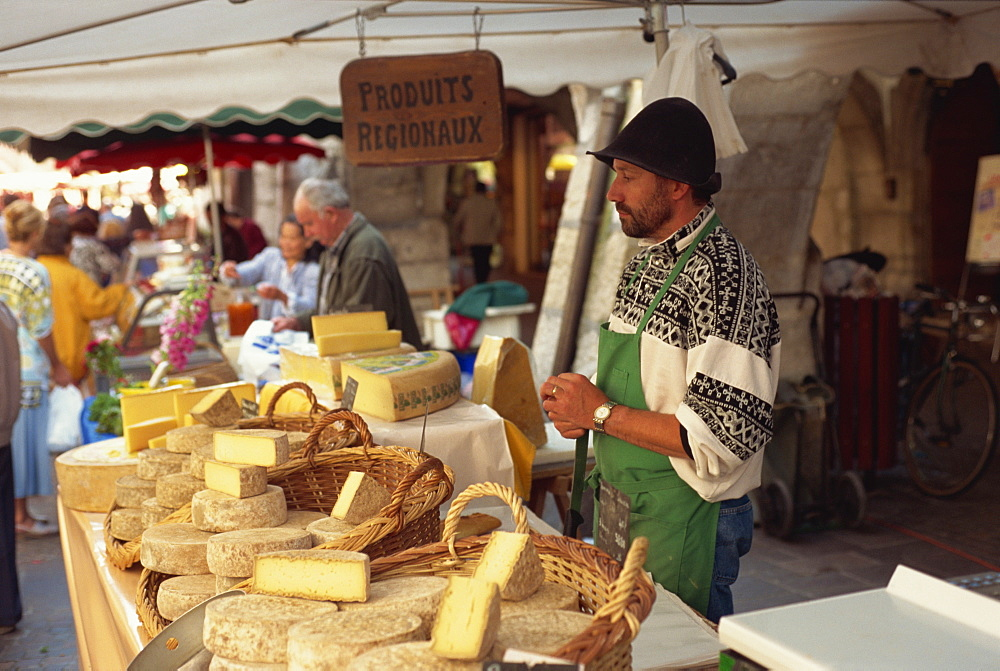 Cheese stall at market, Annecy, Haute Savoie, France, Europe - 11-336