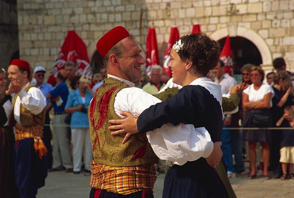 Tourist Board folk dancers, Lusa Square, Dubrovnik, Croatia, Europe - 11-836