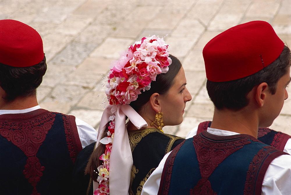 Tourist Board folk dancers, Lusa Square, Dubrovnik, Croatia, Europe - 11-840