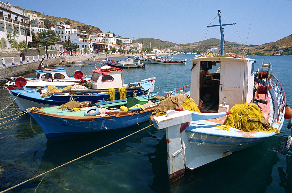 Fishing boats in the harbor at Skala on Patmos, Dodecanese Islands, Greek Islands, Greece, Europe