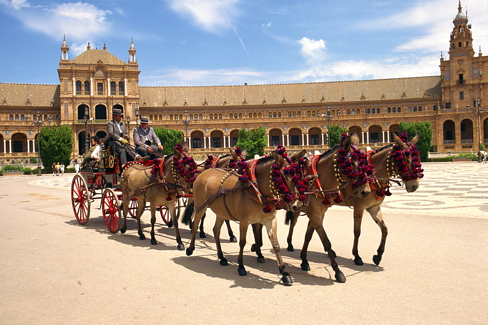 Horses and trap in the Plaza de Espana, in Seville, Andalucia, Spain, Europe - 110-11724