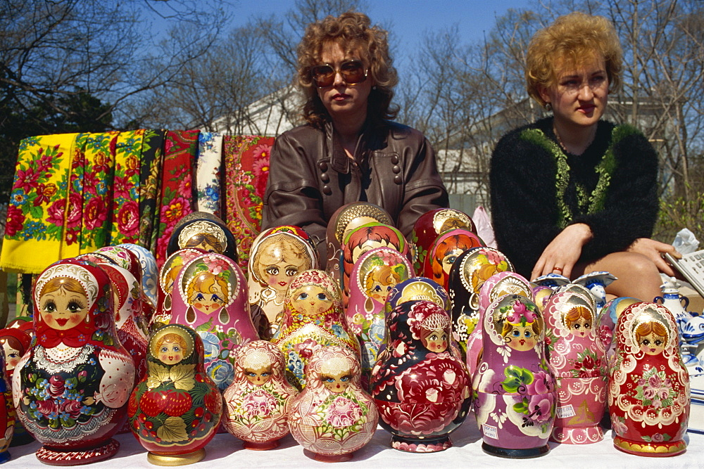 Women sell nesting dolls, Kraevecheski museum, Sakhalin, Russian Far East, Russia, Europe