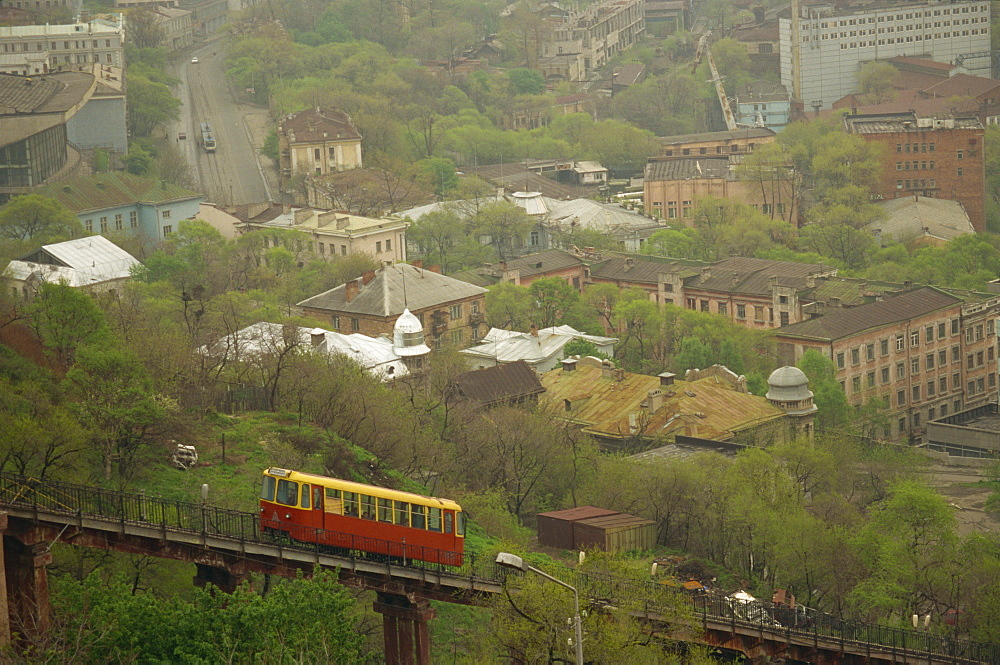 View of city from Eagles Eyrie Hill, Vladivostok, Russia, Europe