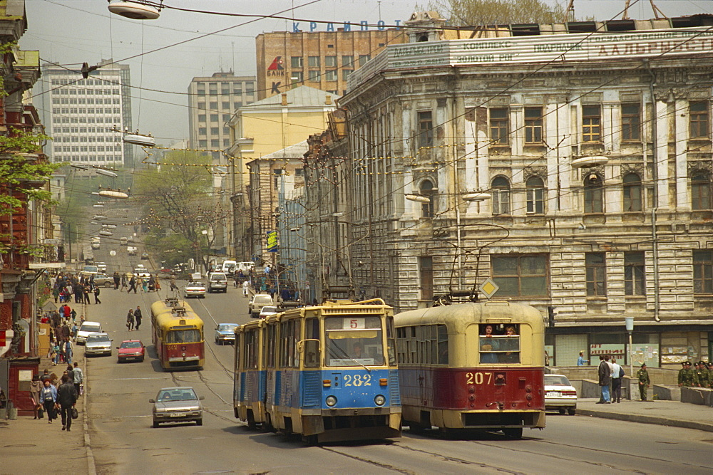 Trams in the street, Vladivostok, Russian Far East, Russia, Europe