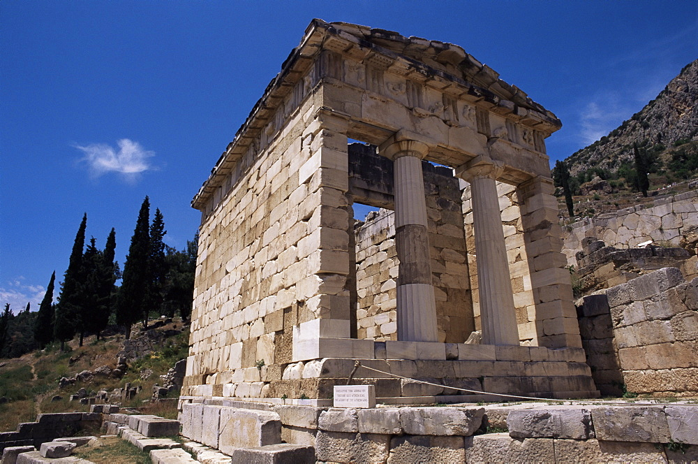 Treasury of the Athenians, Delphi, UNESCO World Heritage Site, Greece, Europe