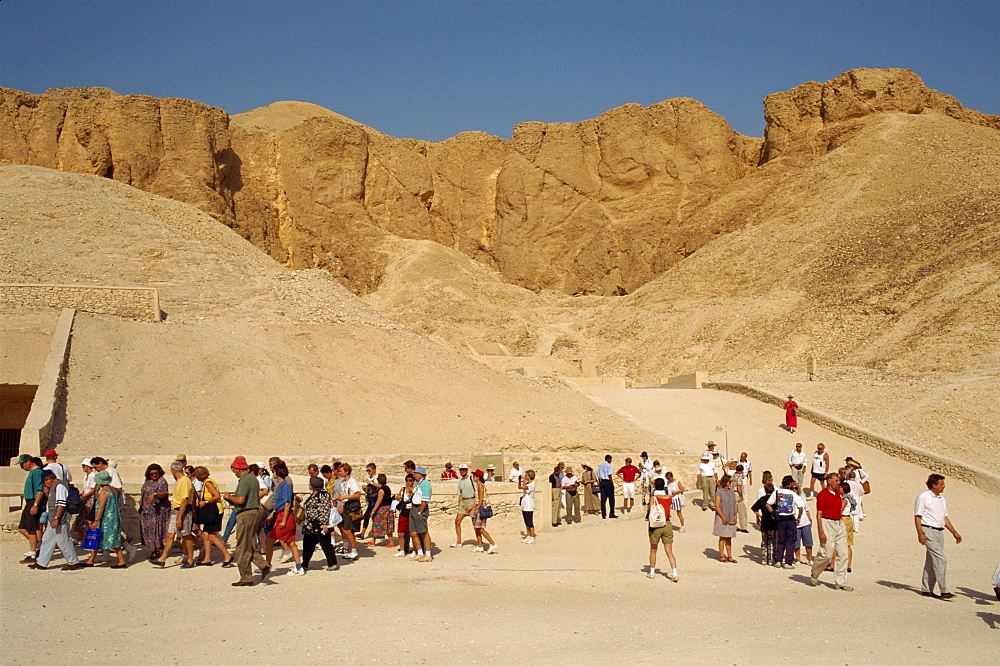 Tourists visiting tombs in the Valley of the Kings, Luxor, Thebes, UNESCO World Heritage Site, Egypt, North Africa, Africa