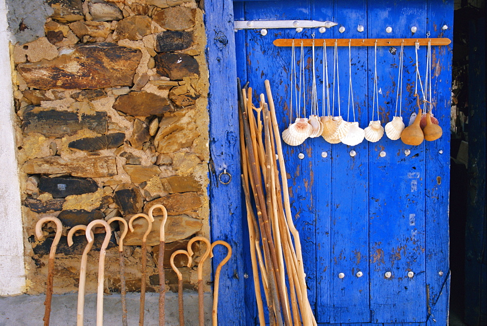 El Camino Pilgrimage to Santiago de Compostela, scallop shells and walking sticks, Galicia, Spain, Europe - 110-13709