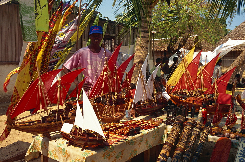 Model boats for sale to tourists, Nosy Komba, Madagascar, Africa - 110-14235