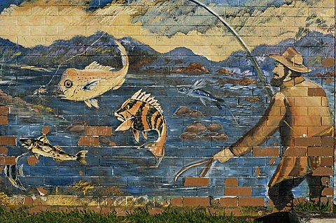 Wall painting of fishing, Esperance, Western Australia, Australia, Pacific - 110-15061
