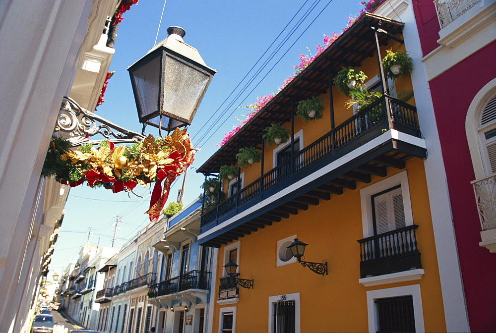 Balconies on typical street in the Old Town, San Juan, Puerto Rico, Central America - 110-15895