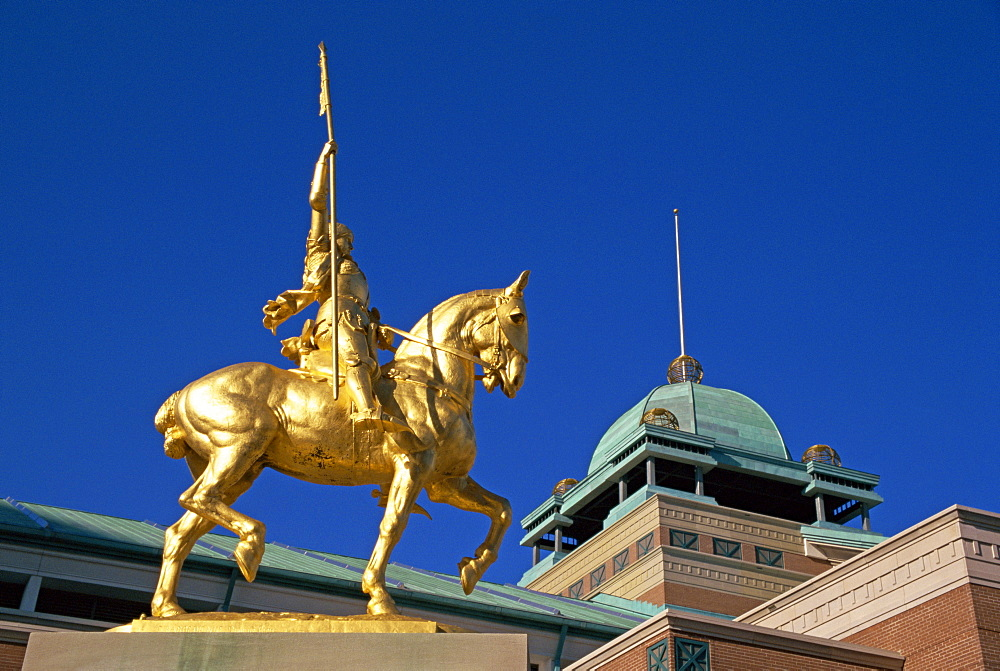 Golden statue of Joan of Arc on horseback, in New Orleans, Louisiana, United States of America, North America
