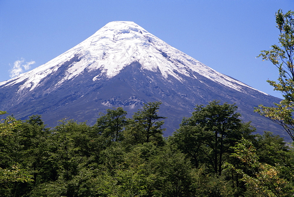 Mount Osorno, a volcano in Vicente Rosales National Park, Lake District, Chile, South America