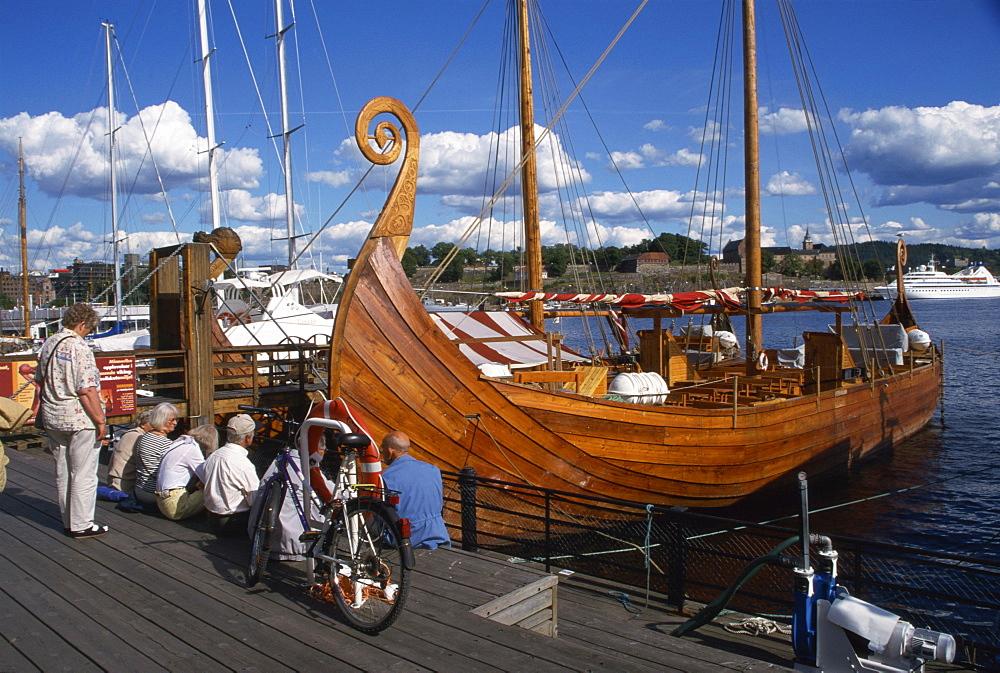 Viking boat replica, Aker Brygge, Oslo, Norway, Scandinavia, Europe