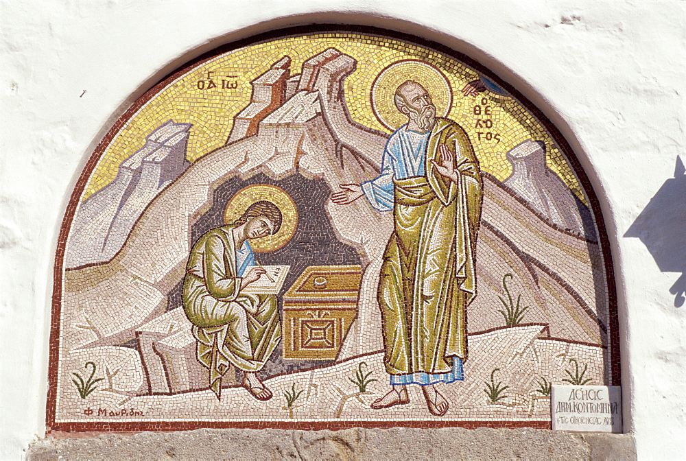 Mosaic of St. John dictating to pupil Prochorus, Cave of Apocalypse, Patmos, Dodecanese, Greek Islands, Greece, Europe - 110-17486