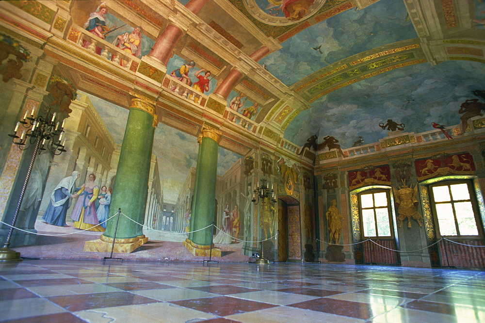 Illusionist frescoes by Donato Mascagni in interior hall, Schloss Hellbrunn, near Salzburg, Austria, Europe - 110-19841