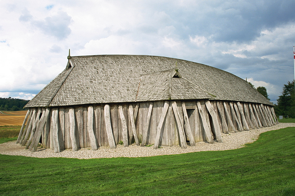 Fyrkat, replica of Viking house of oak timber, Hobro, Jutland, Denmark, Scandinavia, Europe