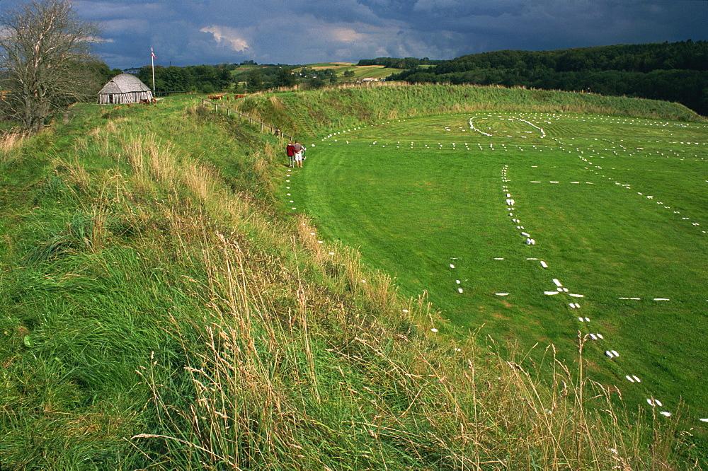 Fyrkat, Viking fortress dating from the 10th century, Hobro, Jutland, Denmark, Scandinavia, Europe