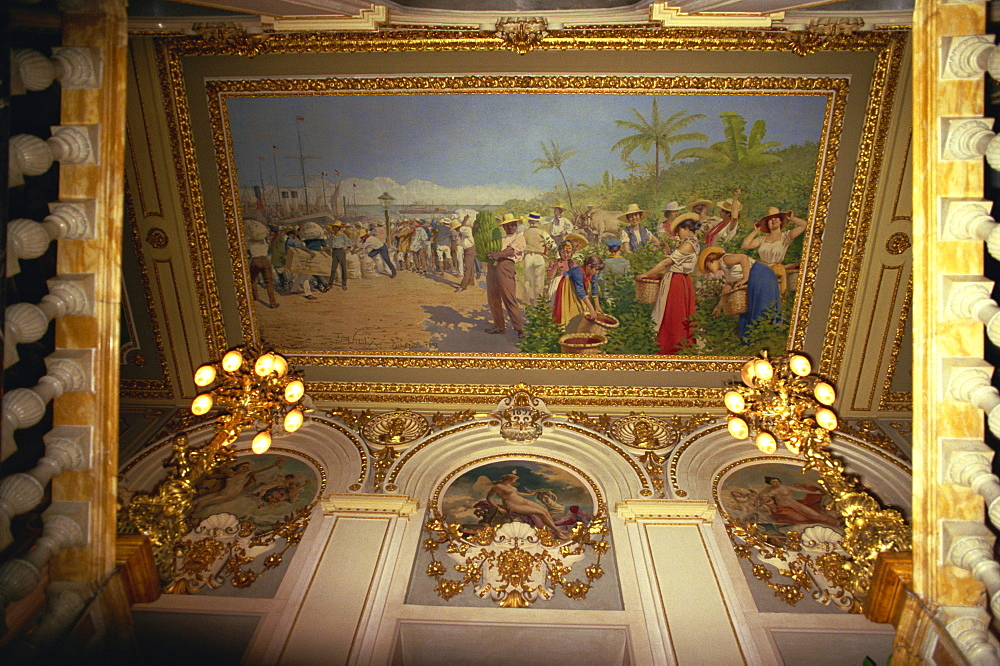 Painting by Villa showing exports, National Theatre, Costa Rica, Central America - 110-3181