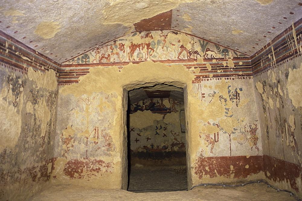 Etruscan tomb, Caccia e Pesca, Tarquinia, UNESCO World Heritage Site, Italy, Europe