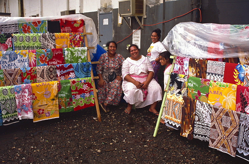Vendors with printed cotton fabrics, Pago Pago, U.S. Samoa, Pacific Islands, Pacific - 110-5084