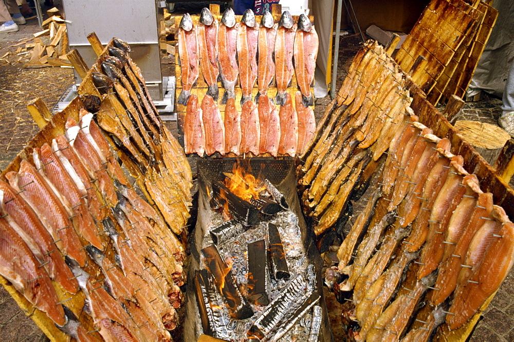 Smoking fish at Lapp display, Helsinki, Finland, Scandinavia, Europe