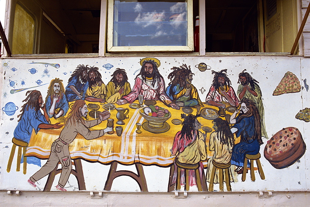 Last Supper, painted on a Rasta home, Bridgetown, Barbados, West Indies, Caribbean, Central America - 110-7708