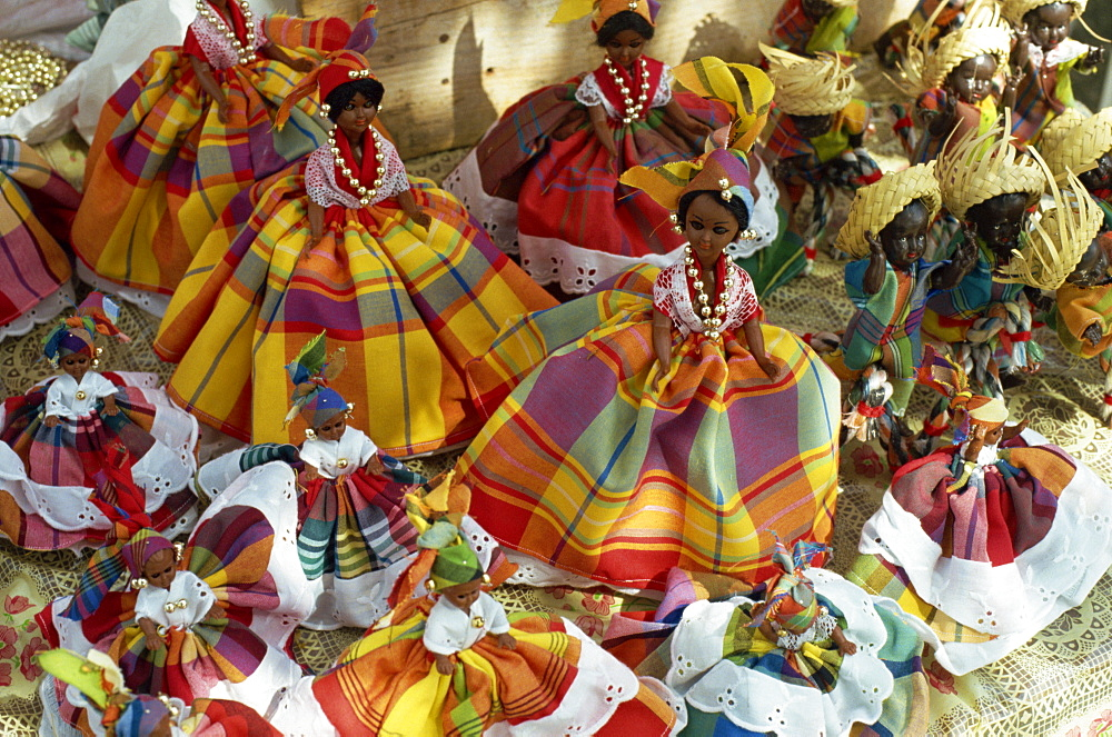 Dolls in Martinique dress, on display for sale, Fort de France, Martinique, Windward Islands, West Indies, Caribbean, Central America