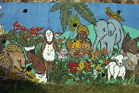 Painting on school wall, Charlotte Amalie, St. Thomas, U.S. Virgin Islands, West Indies, Caribbean, Central America - 110-8137