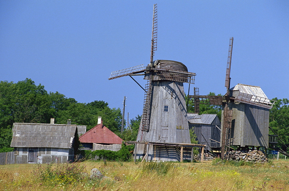 Angla windmills, Saaremaa Island, Estonia, Baltic States, Europe - 110-8637