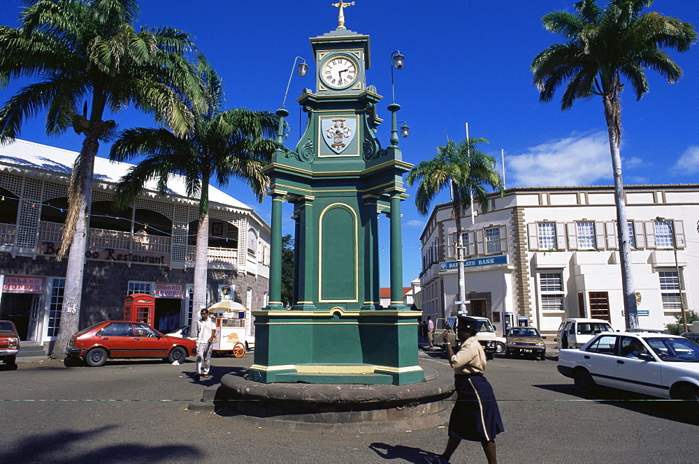Clocktower at the Circus, Basseterre, St. Kitts, Leeward Islands, West Indies, Caribbean, Central America