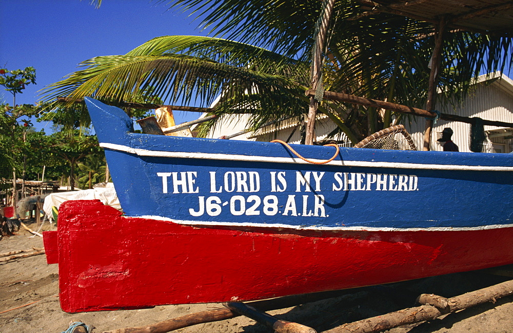The Lord is My Shepherd fishing boat, Anse La Raye, St. Lucia, Windward Islands, West Indies, Central America - 110-9118