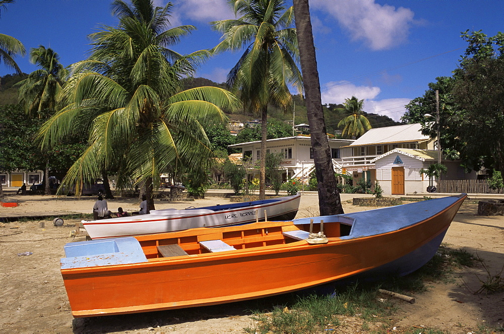 Boat on beach, Port Elizabeth, Bequia, The Grenadines, Windward Islands, West Indies, Caribbean, Central America