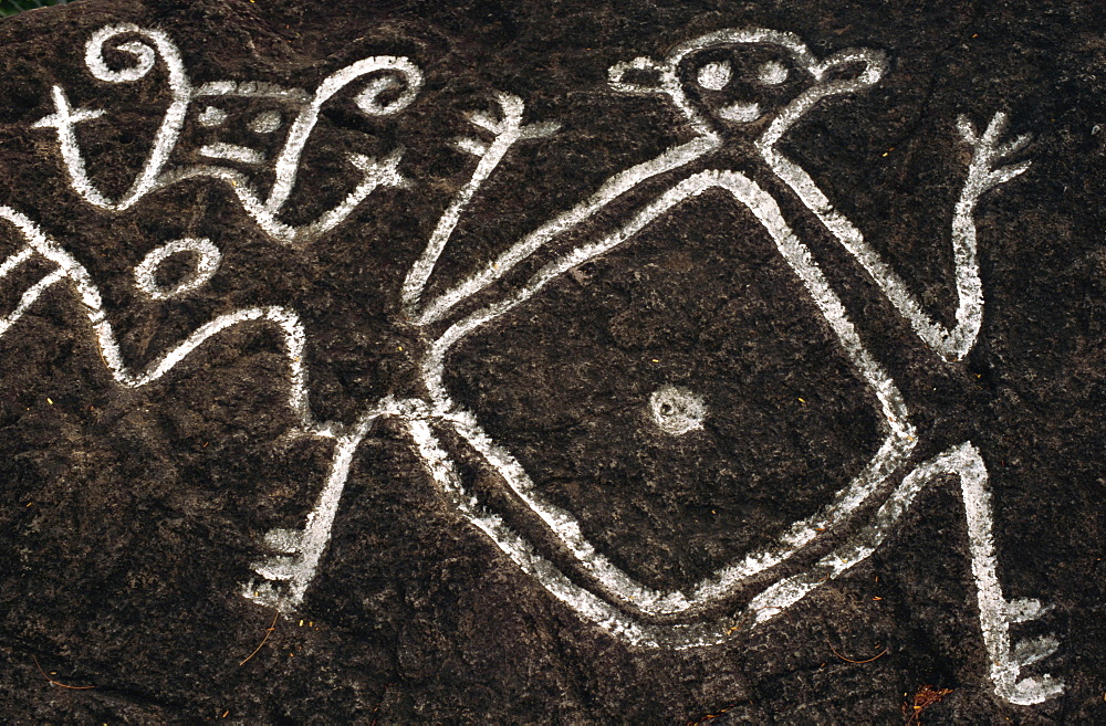 Petroglyphs carved by Caribs, Old Road Town, St. Kitts, Leeward Islands, West Indies, Caribbean, Central America - 110-9180