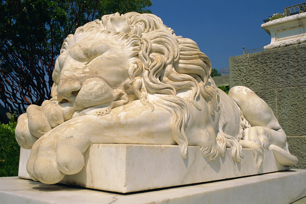 Statue of a sleeping lion at the Alupka Palace in Yalta, Ukraine, Europe