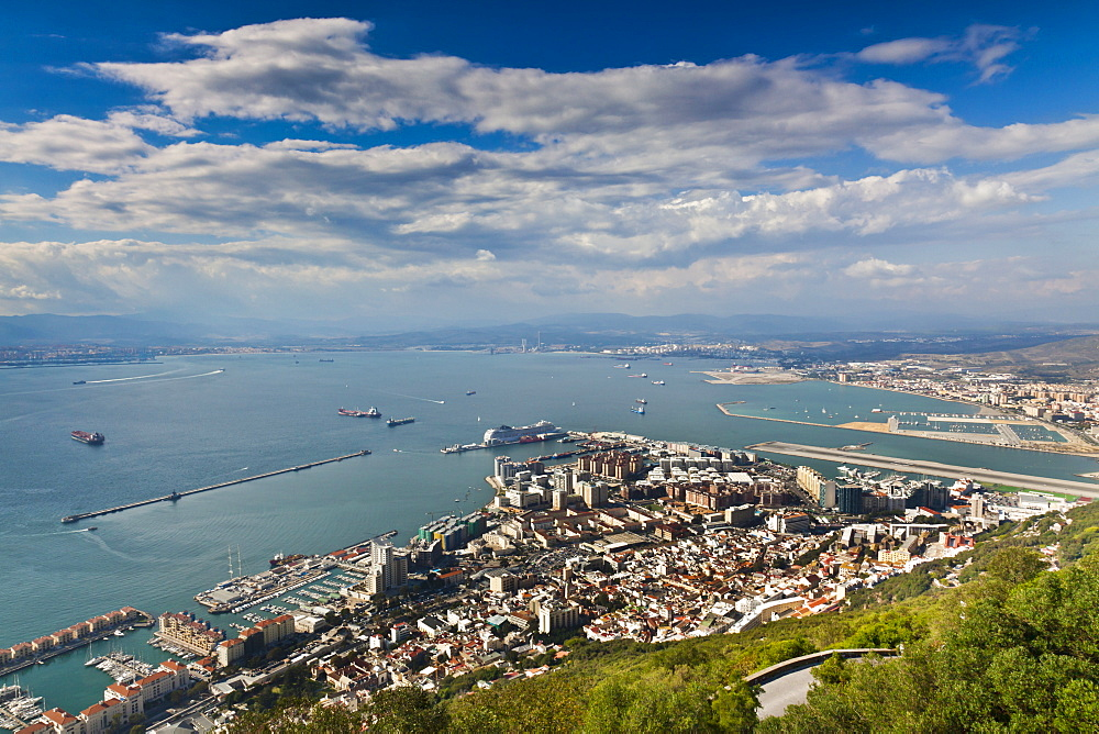 Bay of Gibraltar and Gibraltar Town from the top of the Rock, Gibraltar, Europe - 1102-32