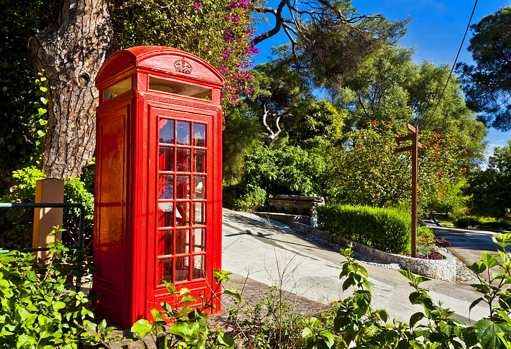 Red telephone box, Alameda Gardens, Gibraltar, Europe - 1102-38