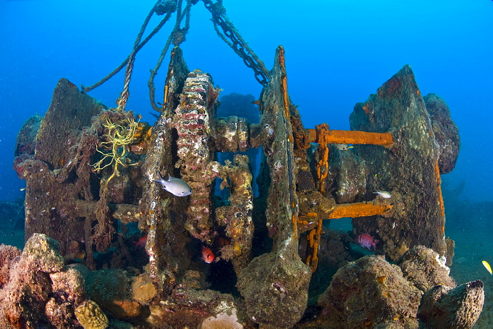 Gantry gear on the deck of the wreck of the Lesleen M, a freighter sunk as an artificial reef in 1985 off Anse Cochon Bay, St. Lucia, West Indies, Caribbean, Central America