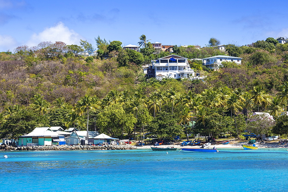 St Vincent and The Grenadines, Mustique, View of Lovell village