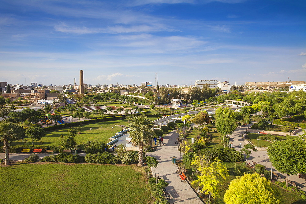 Aerial view of Minare Park, Erbil, Kurdistan, Iraq, Middle East