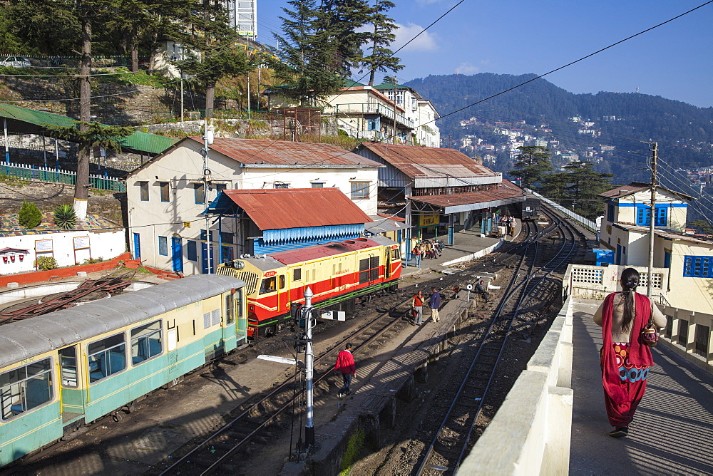 The Himalayan Queen toy train at Shimla railway station, terminus of the Kalka to Shimla Railway, UNESCO World Heritage Site, Shimla (Simla), Himachal Pradesh, India, Asia