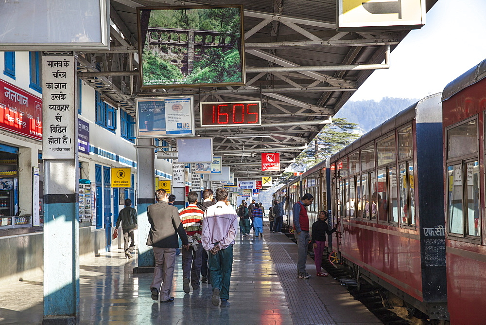 The Himalayan Queen toy train at Shimla railway station, at the end of the Kalka to Shimla Railway, UNESCO World Heritage Site, Shimla (Simla), Himachal Pradesh, India, Asia