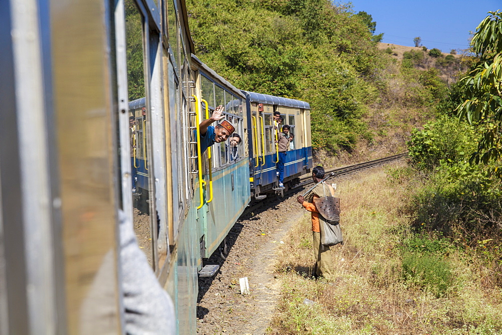 The Himalayan Queen toy train on the Kalka to Shimla Railway, UNESCO World Heritage Site, Northwest India, Asia