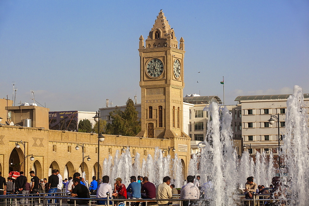 Clock tower in Shar Park, Erbil, Kurdistan, Iraq, Middle East