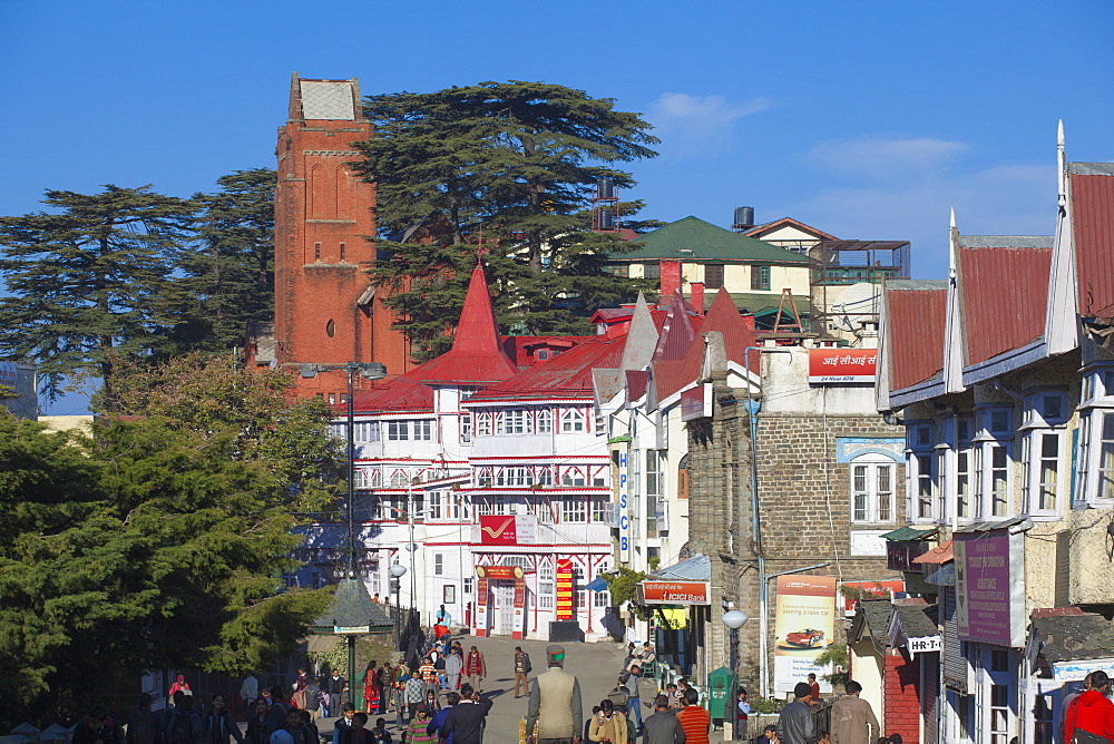 Half-timbered General Post Office, The Ridge, Shimla (Simla), Himachal Pradesh, India, Asia