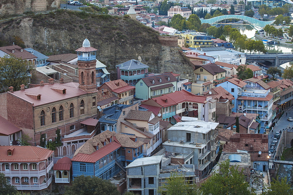 View of Old town and Narikala Fortress, Tbilisi, Georgia, Caucasus, Central Asia, Asia